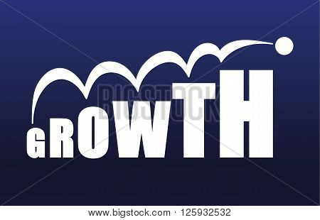 The word Growth with the letters increasing in size making the word bigger to symbolize a growing business