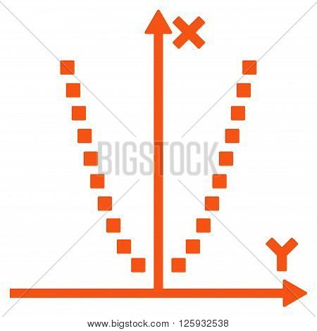Parabole Plot vector toolbar icon. Style is flat icon symbol, orange color, white background, square dots.