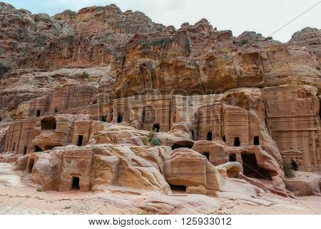 Cave dwellings in the Rose City of Petra, Jordan. The city of Petra was lost for over 1000 years. Now one of the Seven Wonders of the Word
