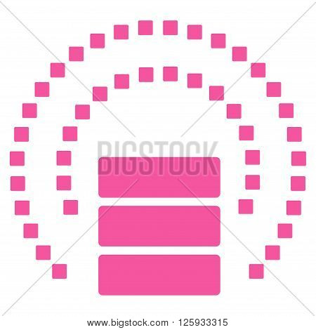 Database Sphere Shield vector toolbar icon. Style is flat icon symbol, pink color, white background, square dots.