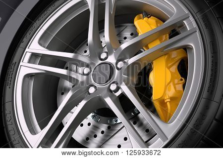 The brake system of a sport car. Closeup. 3d illustration