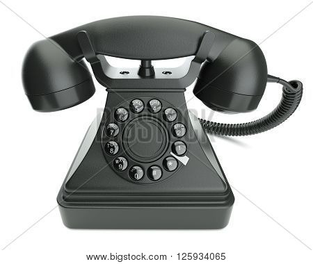 Black retro phone isolated on white background 3d