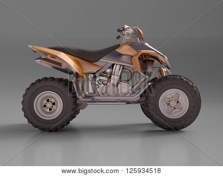 3D rendering. ATV quad bike, studio shooting, soft lighting