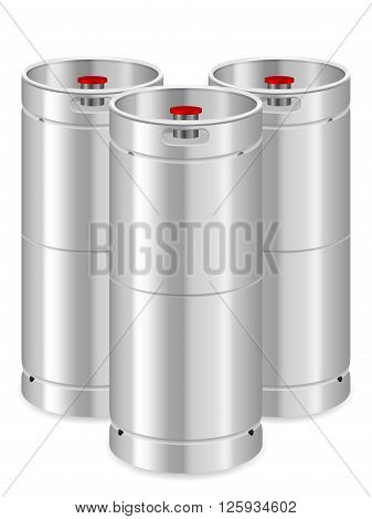 Beer kegs on a white background. Vector illustration.