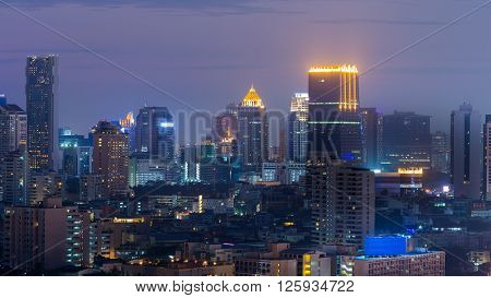 Night view, city office building skyline, city centre downtown