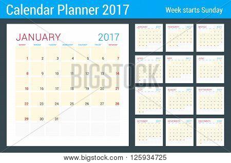 Calendar Planner For 2017 Year. Vector Flat Design Template. 12 Months. Week Starts Sunday. Statione