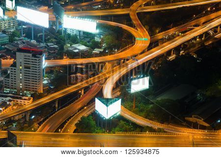 Closeup of highest Aerial view of highway intersection night view