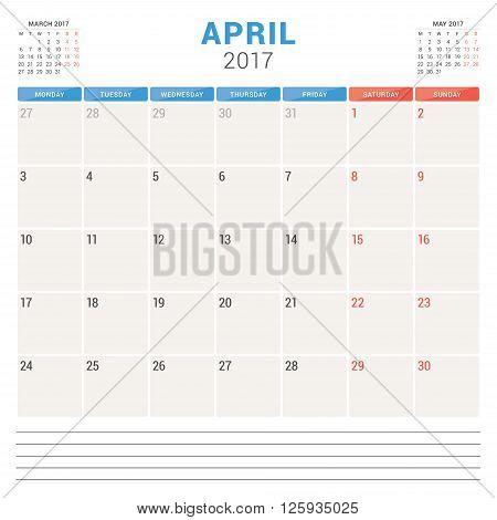 Calendar Planner For 2017 Year. Vector Design Template. April. Week Starts Monday. Stationery Design