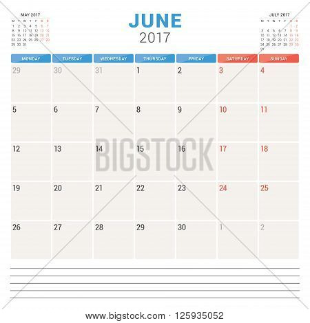 Calendar Planner For 2017 Year. Vector Design Template. June. Week Starts Monday. Stationery Design