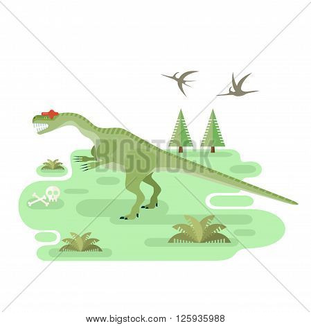 Large Allosaurus. Prehistoric carnivore dinosaur with pristine landscape. Extinct animal. Flat vector illustration.