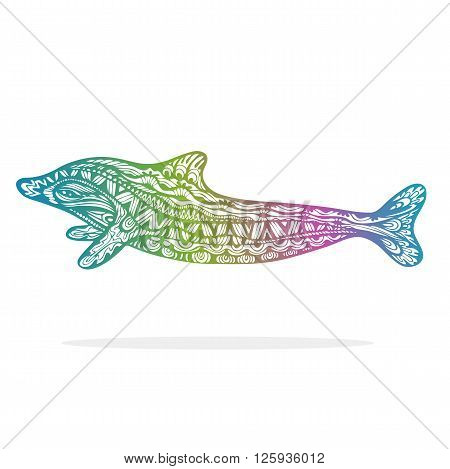 Decorative Dolphin. Lacy fancy mammal hand drawn zentangle art gradient colored isolated design element. Vector illustration.