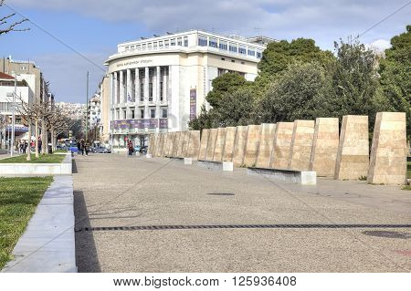 THESSALONIKI GREECE - March 17.2016: City embankment and the National Theatre of Northern Greece in the historic center