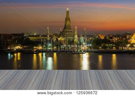 Opeing wooden floor, The Temple of Dawn called Wat Arun river front, Thailand most famous landmark