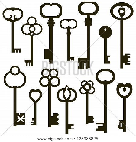 Collection of antique keys, silhouettes of vintage keys isolated on a white background
