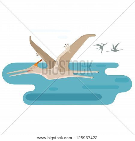 Large Pteranodon. Prehistoric flying dinosaur above blue ocean. Extinct animal. Small location useful for map or game. Flat vector illustration.