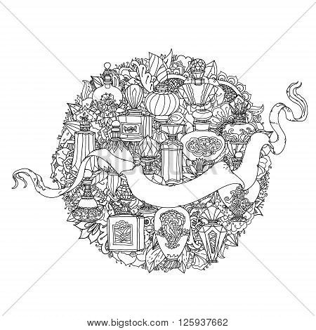 uncolored parfumes and ribbon for text. Adult coloring book famous zenart style. Hand-drawn, retro, doodle, vector, uncoloured. Black and white. The best for design, textiles, cards, coloring book