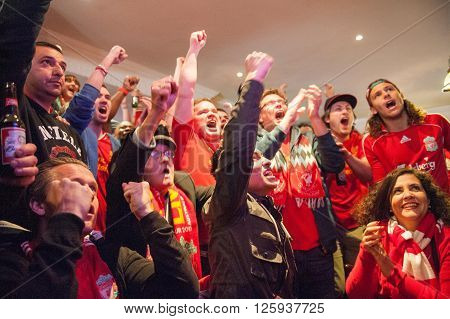 LIVERPOOL, UK - MAY 11th 2014: Liverpool Football Club supporters outside Anfield for the final title race match of the season against Newcastle