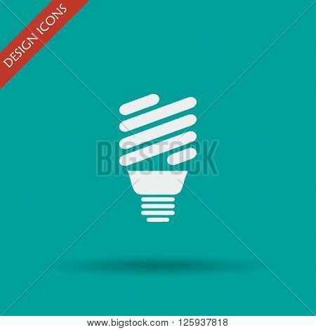Vector energy saving fluorescent light bulb icon.