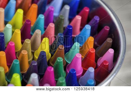 Close up of colorful and bright pastel crayons