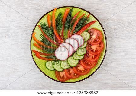Slices Of Miscellaneous Vegetables And Dill In Green Plate