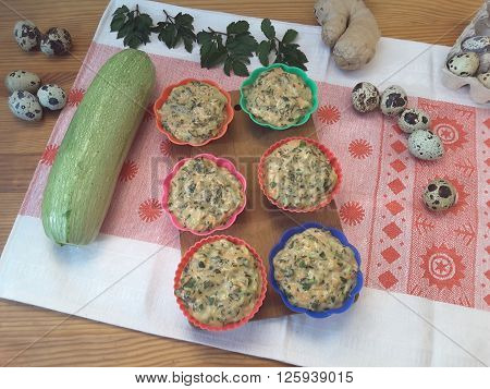 Cooking with wild plants, Squash goutweed muffins with ginger and quail eggs