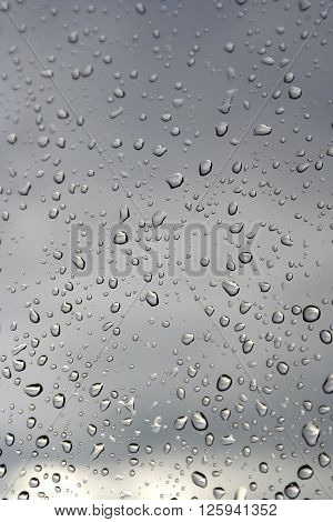 Abstract background water drops on a window glass rainy day