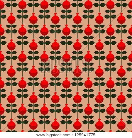 seamless pattern with Pomegranate, repeating geometric pattern