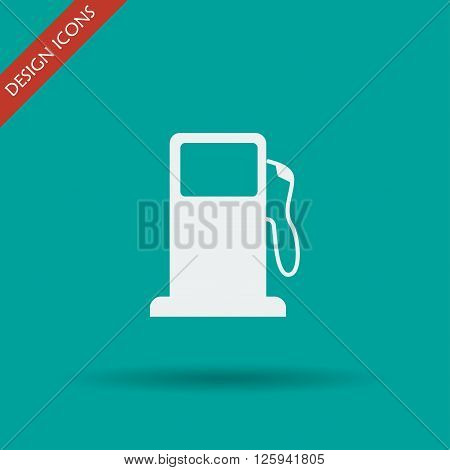 Gasoline pump nozzle sign. Gas station icon. Flat design style.