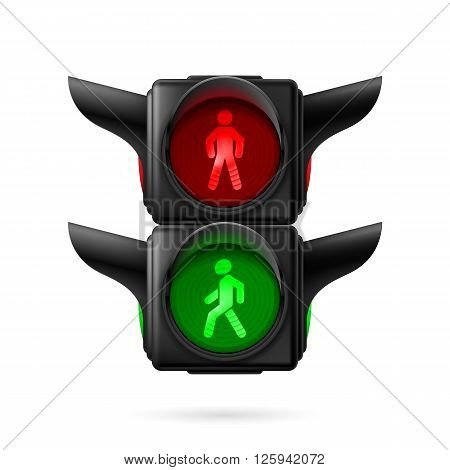 Realistic pedestrian traffic lights with red and green lamps on. Illustration on white background