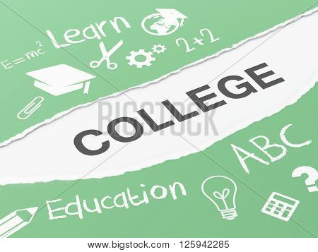 3d renderer image. Torn paper with word college. Education concept.
