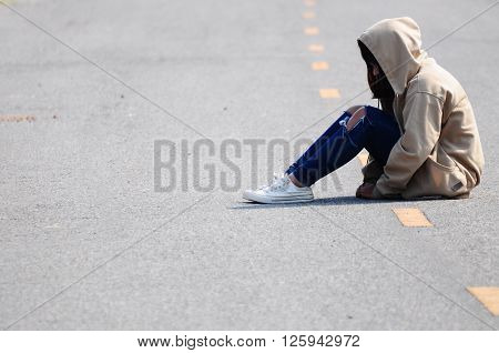 Lonely Girl is Sitting on the Road