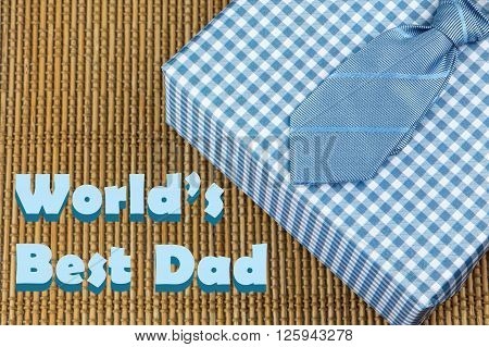 tie with bue gift box. Father's day theme
