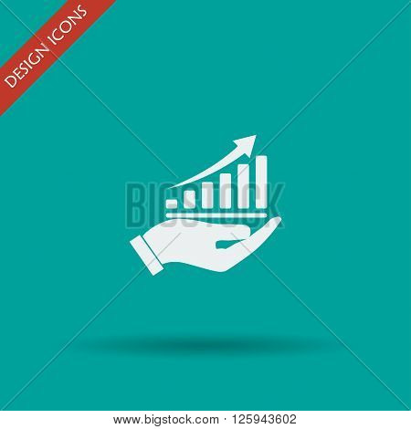 chart icon with hand vector illustration. Flat design style