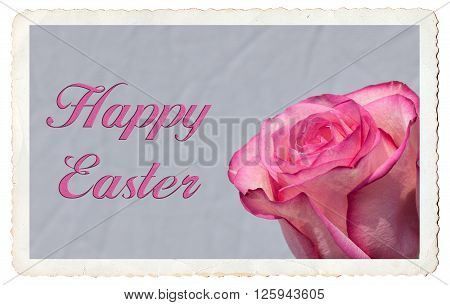 Happy Easter greeting card with text and border with antique look