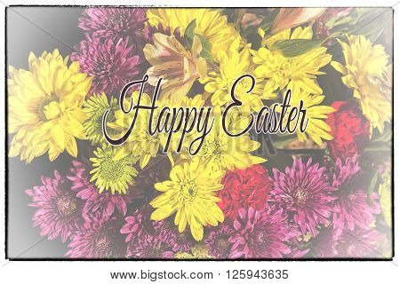 Greeting card with colorful arrangement of flowers with Happy Easter text and border