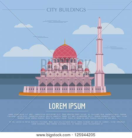 City buildings graphic template. Malaysia, Sultan Putra mosque. Vector illustration