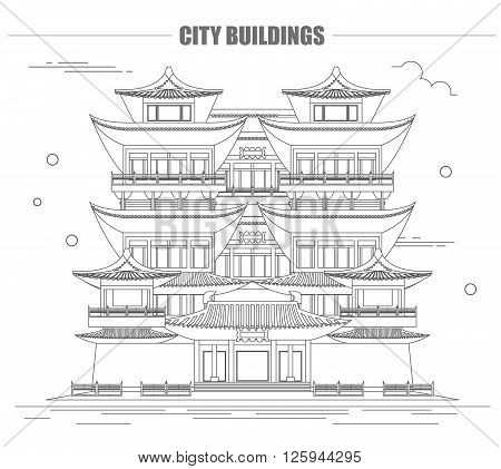 City buildings graphic template. Singapore. Buddha`s tooth Temple. Vector illustration