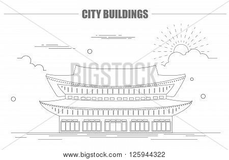 City buildings graphic template. South Korea. Shining Happiness Palace. Vector illustration