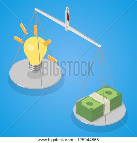 Idea and money stack balance on libra. Idea is money concept. Isometric vector illustration