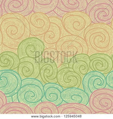 delicate whorl seamless pattern, imitating hand drawn