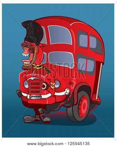 London city bus and cab .vector illustration