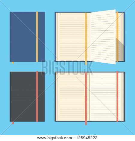 Set of opened and closed notebooks.Notepads for business and important notes.Personal organizer. Diary set. Flat design. Blank pages. Vector illustration