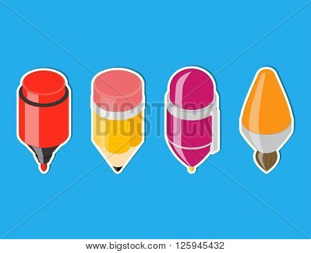 Isometric drawing tool icons. Cartoon pen, pencil, brush and marker. Vector icons
