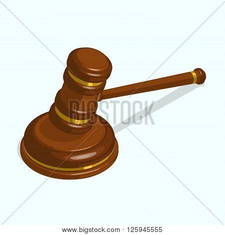 Wooden glossy judge gavel. isometric vector illustration