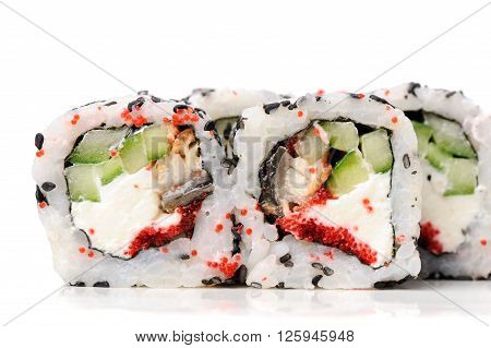 Set of square sushi rolls with vegs cream cheese and red roe isolated closeup