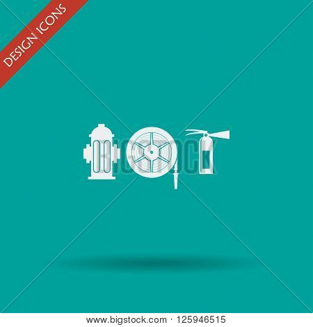 Fire hydrant and fire extinguisher vector illustration