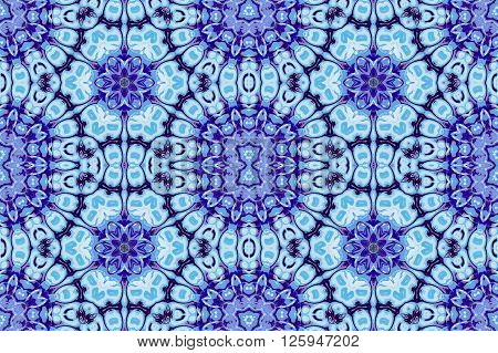 Abstract geometric seamless background. Ornate floral ornaments, ellipses pattern in light blue and purple shades.