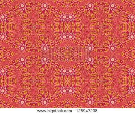 Abstract seamless background. Ornate ornament with various elements in yellow, ocher brown and beige blossoms on dark red.
