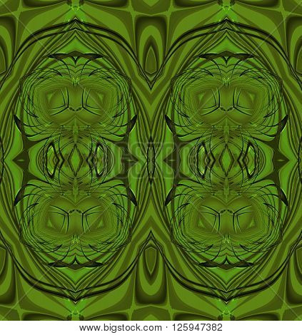 Abstract geometric seamless background. Regular ellipses pattern in olive green and dark green shades, ornate and extensive.