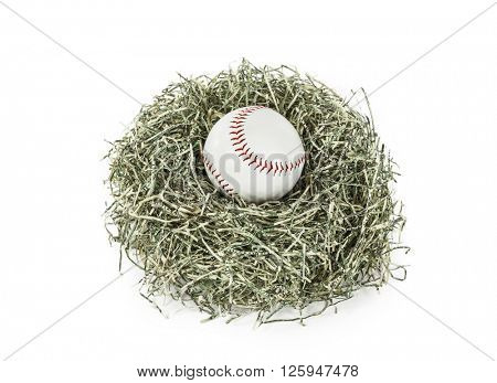 Baseball in nest of shredded US paper money.
